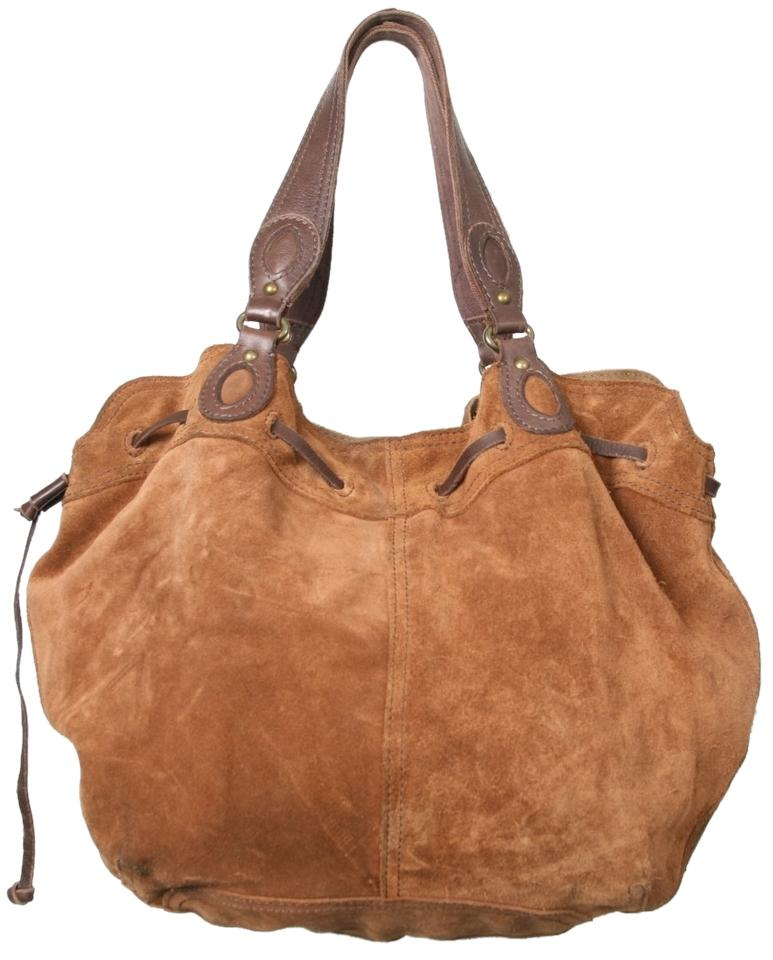 Ideal Lucky Brand Vintage Inspired Drawstring Brown Camel Suede Leather  OK51