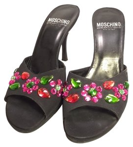 Moschino Floral Beaded Black Sandals