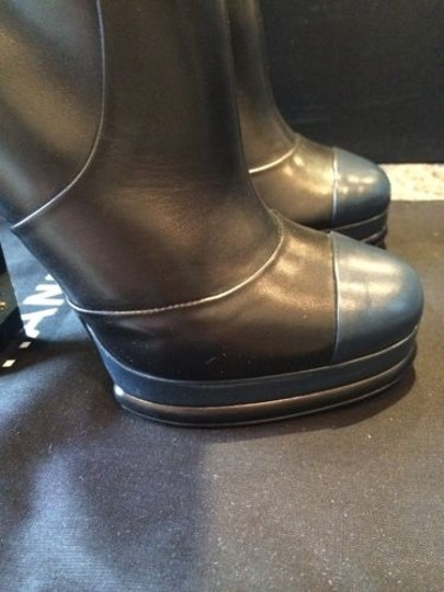 Chanel Platform Leather Navy Cap Toe Knee Tall Black Boots