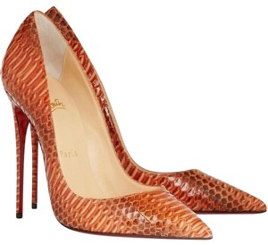 Christian Louboutin Papaye Python Snake So Kate Orange Pumps