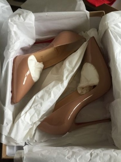 Christian Louboutin So Kate In Nude Patent 120mm Beige Pumps