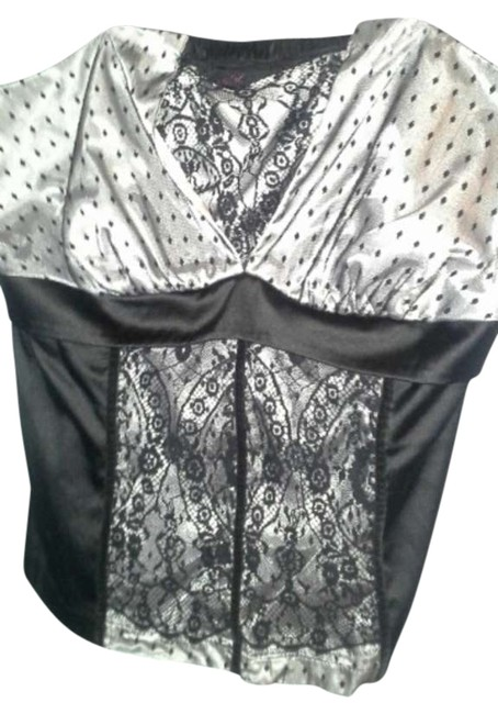 Item - Silver and Black Satin Strapless Blouse Size 26 (Plus 3x)