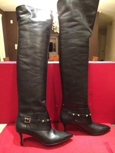 Valentino Rockstud Leather Otk Over Knee Thigh Black Boots