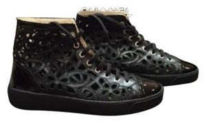 Chanel Cc Leather Lace Black Boots
