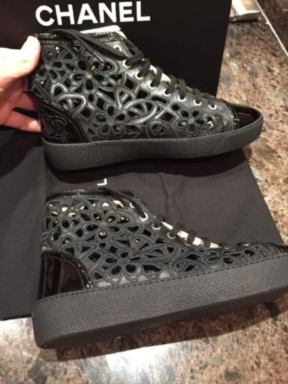 Chanel Cc Leather Lace Up High Top Sneakers Flat Black Boots