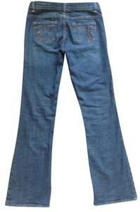 Express Embellished X2 W10 Flare Leg Jeans-Medium Wash