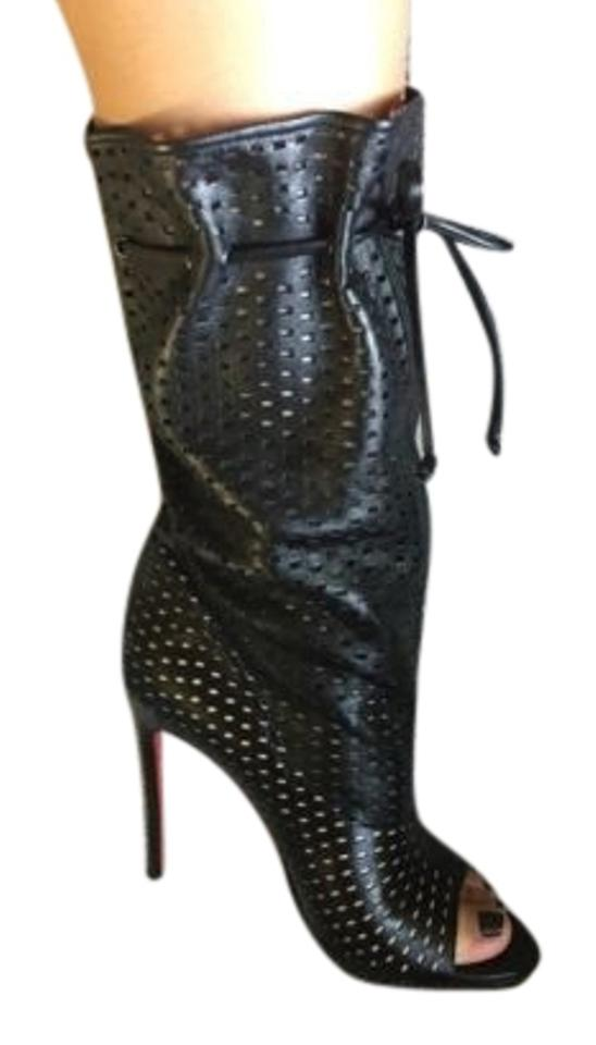 wholesale dealer 37e6e bac65 Christian Louboutin Jennifer Mid Calf Open Toe Boot Black