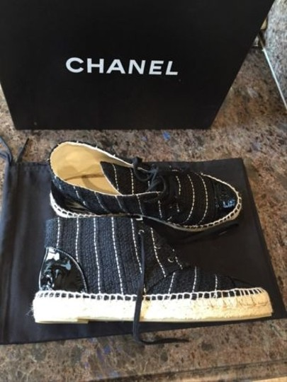 Chanel Classic Tweed Espadrille High Top Sneakers Flat Black Boots