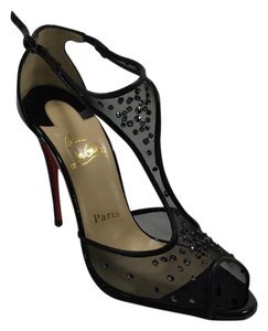 Christian Louboutin Patent Mesh Black Pumps