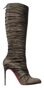 Christian Louboutin Poivre Suede Vivazdine Knee High Gray Boots