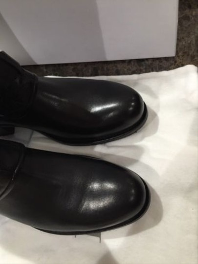 Dior Christian Classic Leather Flat Riding Moto High Black Boots