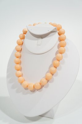 Luperla Vintage Luperla Deep Water Pink Coral Lacquered Graduated Bead Necklace