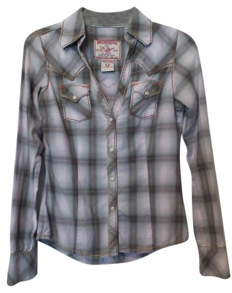 05dfd37fb True Religion Off-white Lilac Grey Gold. Vintage Western Shirt   Button-down  Top