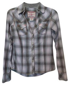 True Religion Western Besty Big T Button Down Shirt Off-white, lilac, grey, gold.