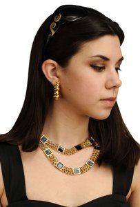 St. John Stunning St John Gold Tone & Black Enamel Chain Belt Necklace