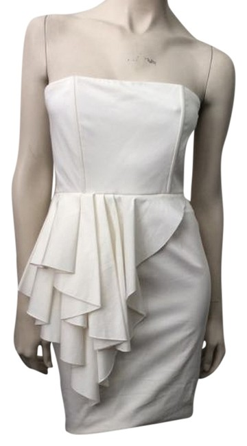 Item - White Strapless Ruffle Mid-length Short Casual Dress Size 2 (XS)