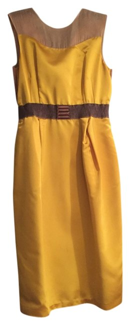 Valentino Golden Yellow Knee Length Night Out Dress Size 2 (XS) Valentino Golden Yellow Knee Length Night Out Dress Size 2 (XS) Image 1