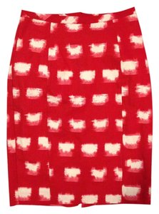 Anthropologie Classic Pencil Skirt Red and White