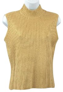 St. John Sleeveless Gold Knit Top
