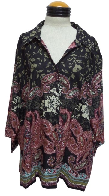 Kim Rogers Top Multi Color Paisley Print