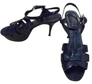Saint Laurent Tribute Heel Iconic Ysl Blue Sandals