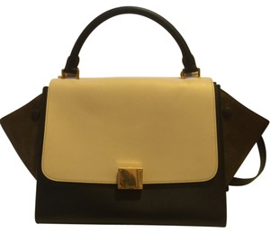 Céline Trapeze Small Leather Suede Satchel in Tricolor