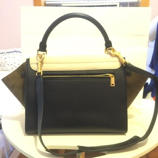 Céline Trapeze Leather Suede Satchel in Tricolor