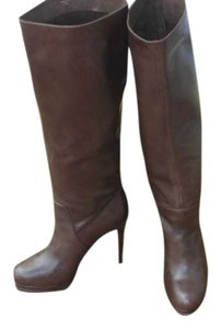 Max Studio Stiletto Platform Leather Boutique Chestnut Brown Boots