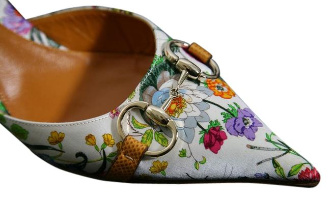Item - White/Red/Green Floral Silk Mules/Slides Size US 9