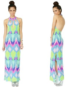 Multi-colored Purple Turquoise Maxi Dress by Nasty Gal Kaleidoscope Silk Geo