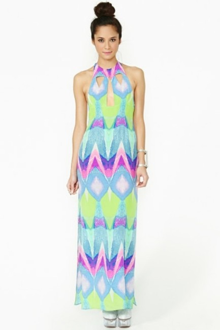 Multi-colored Purple Turquoise Maxi Dress by Nasty Gal Kaleidoscope Silk Geo Abstract Watercolor Cut-out Backless Tibi Tobi Anthropologie Sold Out Date Night Pool Party Pink
