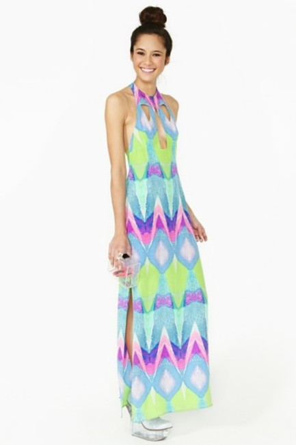 Multi-colored Purple Turquoise Maxi Dress by Nasty Gal Kaleidoscope Silk Geo Abstract Watercolor Cut-out Backless Tibi Tobi Anthropologie Sold Out Date Night Pool Party Pink Image 2