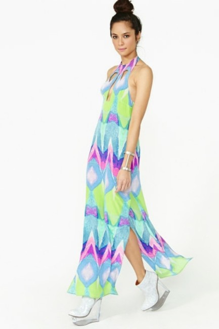Multi-colored Purple Turquoise Maxi Dress by Nasty Gal Kaleidoscope Silk Geo Abstract Watercolor Cut-out Backless Tibi Tobi Anthropologie Sold Out Date Night Pool Party Pink Image 3