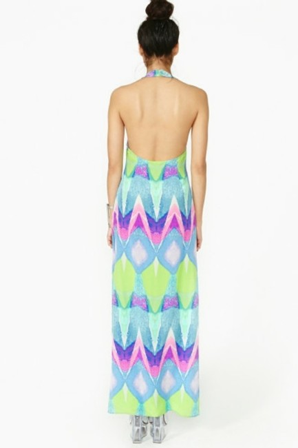 Multi-colored Purple Turquoise Maxi Dress by Nasty Gal Kaleidoscope Silk Geo Abstract Watercolor Cut-out Backless Tibi Tobi Anthropologie Sold Out Date Night Pool Party Pink Image 5