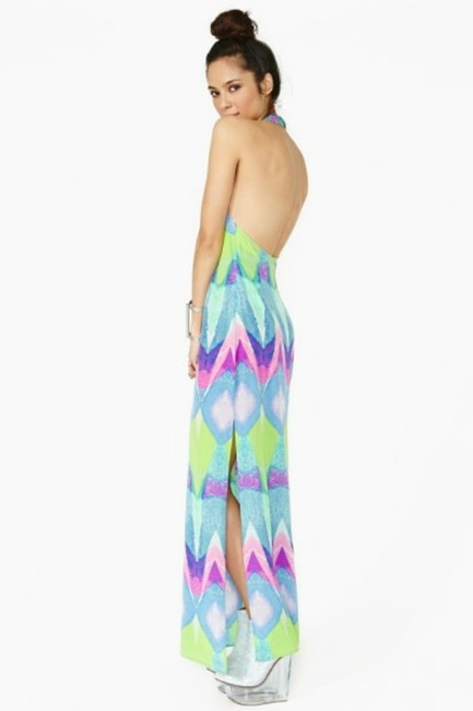 Multi-colored Purple Turquoise Maxi Dress by Nasty Gal Kaleidoscope Silk Geo Abstract Watercolor Cut-out Backless Tibi Tobi Anthropologie Sold Out Date Night Pool Party Pink Image 6