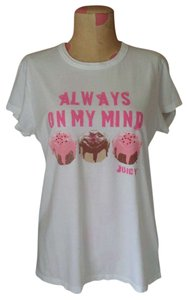 Juicy Couture Crewneck Graphic Hearts Jc Sweet Valentine T Shirt White and Pink
