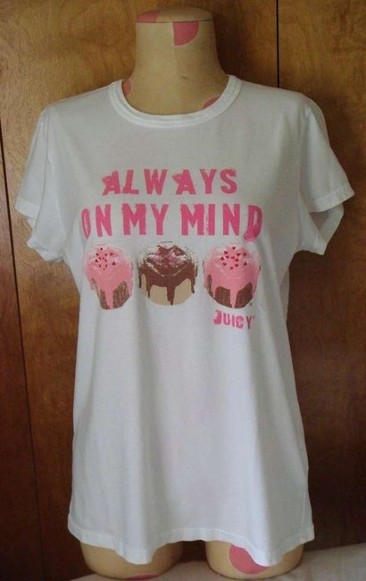 Juicy Couture Crewneck Graphic Hearts Jc Sweet T-shirt Valentine T Shirt White and Pink