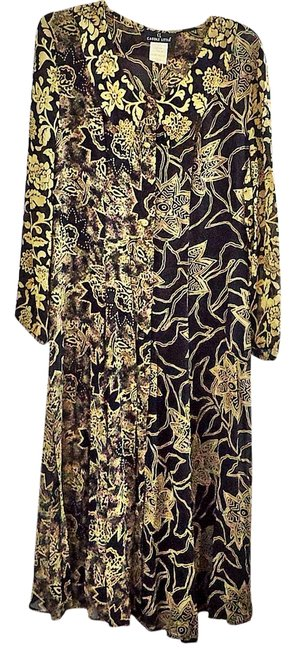 Carole Little Black-tan Long Formal Dress Size 6 (S) Carole Little Black-tan Long Formal Dress Size 6 (S) Image 1