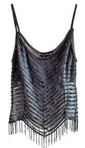 bebe Sequin Fringe Hem Sparkle Mesh Top grey
