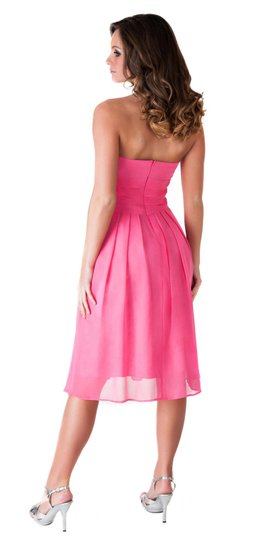 Pink Chiffon Polyester Strapless Pleated Waist Slimming Feminine Bridesmaid/Mob Dress Size 2 (XS)