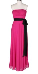 Pink Chiffon Strapless Long Pleated Bust W/ Sash Formal Dress Size 2 (XS)