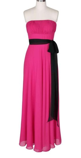 Pink Chiffon Strapless Long Pleated Bust W/ Sash Formal Bridesmaid/Mob Dress Size 2 (XS)