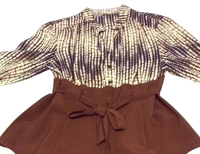 Larry Levine Brown/Blue/White Blouse Size OS (one size) Larry Levine Brown/Blue/White Blouse Size OS (one size) Image 1