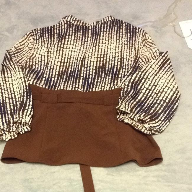 Larry Levine Top Brown/Blue/White