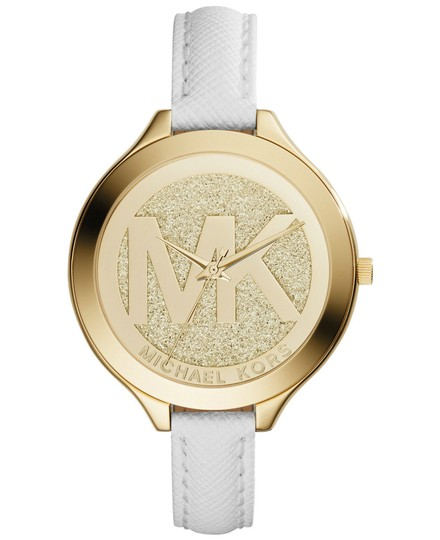 Michael Kors Michael Kors Glitter Champagne Dial White Leather Ladies Watch