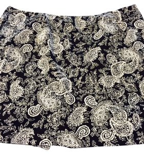 Lauren Ralph Lauren Mini Skirt Black with white paisley pattern
