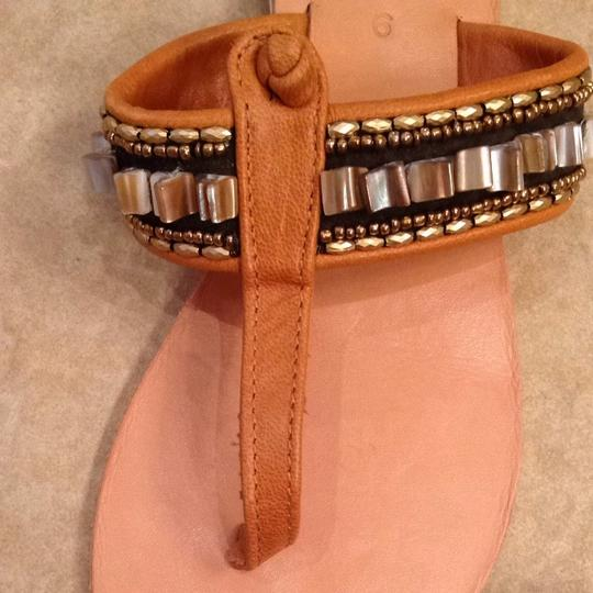 Cocobelle Beaded Bohemian Leather Neutral with pretty shell accents. Never worn! Sandals
