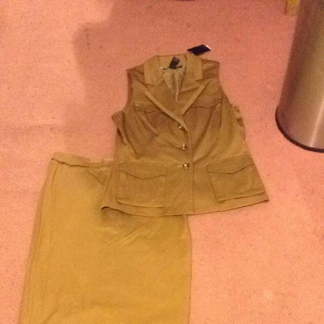 New York & Company Tan Skirt Suit