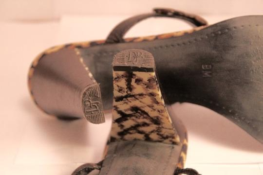 Donald J. Pliner Tribal Couture Leather Braided Heels Beaded Brown/ Leopard Print Sandals