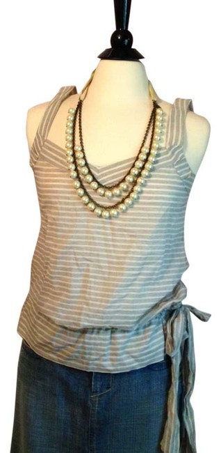 7 For All Mankind Top Gray and white